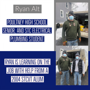 Ryan Alt, Poultney High School Senior, and Electrical Plumbing Student is learning on the job with help from a 2004 STC alum Photo Shows Ryan in a green hoodie standing in front of a work truck